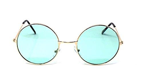Adultes Retro Gold Frame avec des lentilles vert rond lunettes de soleil complète miroir lentille vintage look qualité lunettes de soleil