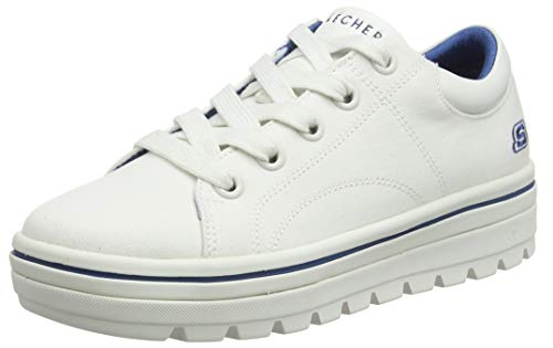 Skechers Women's Street Cleat. Canvas Contrast Stitch lace up Sneaker, White, 9.5 M US