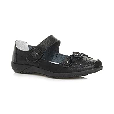 Ajvani Women's Comfort Velcro Strap Flat Mary Jane Work Flower Shoes Size 6 37 Black