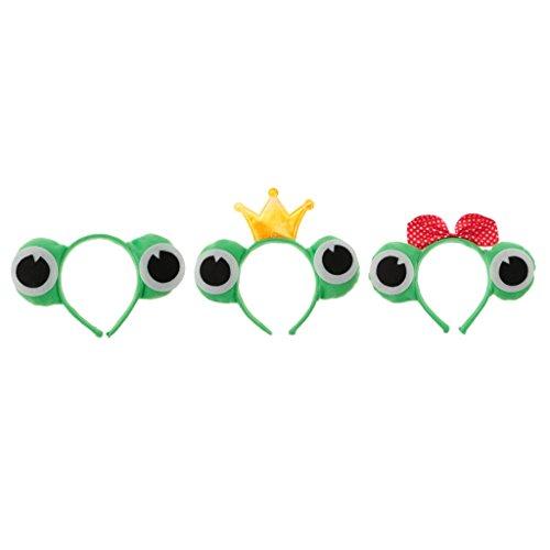 B Blesiya Pack of 3 Green Animal Frog Eye Bowknot Crown Tiara Headband Kids Adult Fancy Hat