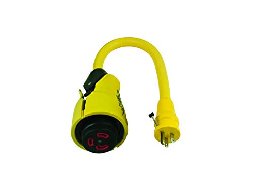 Marinco ParkPower 15 Amp, 125V Straight-Blade W/Locking Screw Male Plug to 30 Amp, 125V Locking Female Side Yellow RV EEL Pigtail Adapter