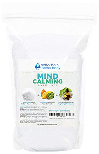 Mind Calming Bath Salt 32oz (2-Lbs) Epsom Salt With Ylang Ylang & Frankincese Essential Oils Plus Vitamin C All Natural Ingredients - Destress, Relax, Release Mental Tension