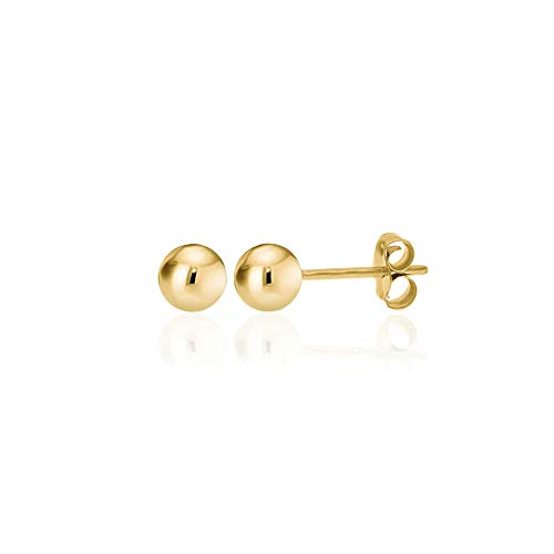 - 14K Yellow Gold Filled Round Ball Stud Earrings Pushback 5mm