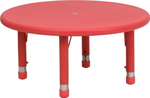 Flash Furniture 33'' Round Red Plastic Height Adjustable Activity Table (Activity Plastic Steel Table)