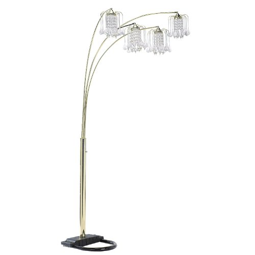 HPP Inc 6966G Floor Lamp with Crystal-Like Shade, Polished (Crystal Halogen Floor Lamp)