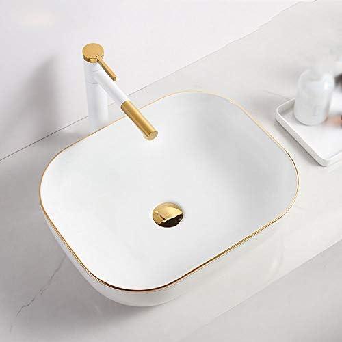 洗面ボウル 北欧のシンプルなゴールド・エッジ・デザインの上カウンターホワイトセラミックバス容器シンク用キャビネット洗面化粧台 洗面器 (Color : White, Size : 46x33x13.5cm)