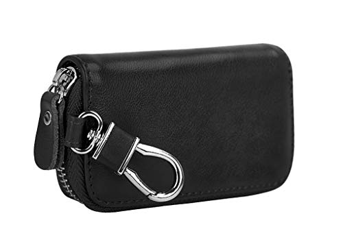 (Mens Womens Luxury Delicate Pocket Size Genuine Leather Key Pouch Bag Solid Color Zipper Universal Car Smart Key Case Holder Coin Purse Wallet Key Ring Hook Keychain Tags)