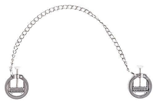 Nippel Presse mit Kette Silber - Nippelklammern mit einfacher Einstellung - Nip clamps mit Reiznägeln Silber - BDSM SM Fetish Silber