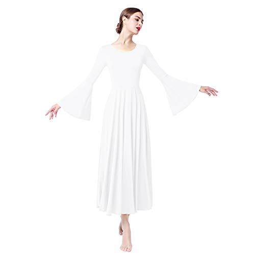 Women Adult Bell Long Sleeves Liturgical Praise Lyrical Dance Dress Solid Loose Fit Full Length Maxi Swing Gown Pleated Ruffle Tunic Circle Skirts Christian Worship Costume Praisewear White L