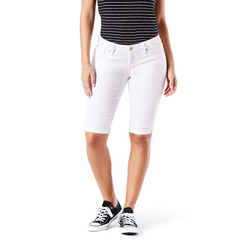 Ladies Bermuda Shorts - Signature by Levi Strauss & Co. Gold Label Women's Mid-Rise Skinny Shorts, White Dove, 10