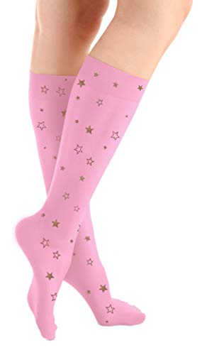 Microfiber Knee High Skating Tights (Sparkle Star Pink) ()