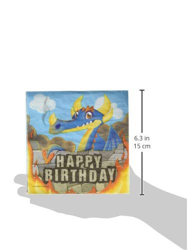 Creative Converting Dragon Happy Birthday Lunch Napkins Party Supplies Multicolor