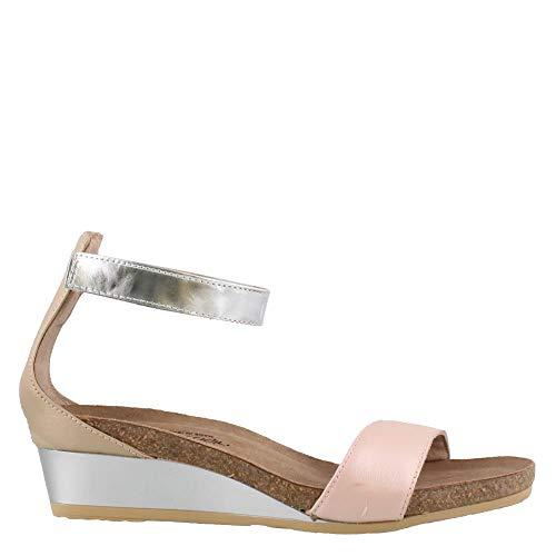 NAOT Footwear Women's Pixie Wedge Sandal Pearl Rose Lthr/Champagne Lthr/Silver Mirror Lthr 7 M US