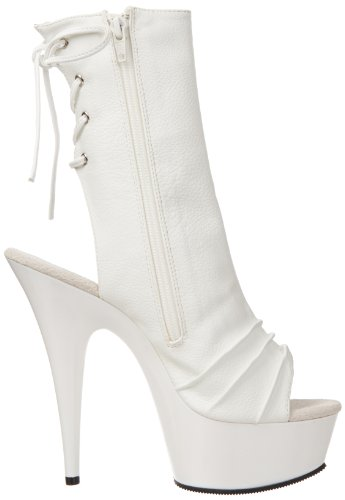 Pleaser Damen Delight-1018 Stiefel, Rot Weiß (Wht Faux Leather/Wht)