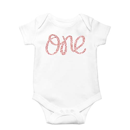 1st Birthday Onesie Girl Glitter Onesie Rose Gold 1st Birthday Onesie for Baby Girls (Glitter Onesie)