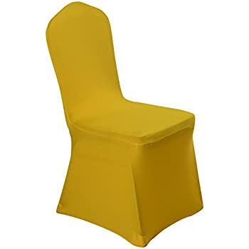 Merveilleux Spandex Dining Chair Cover Covers For Wedding Banquet (Yellow)