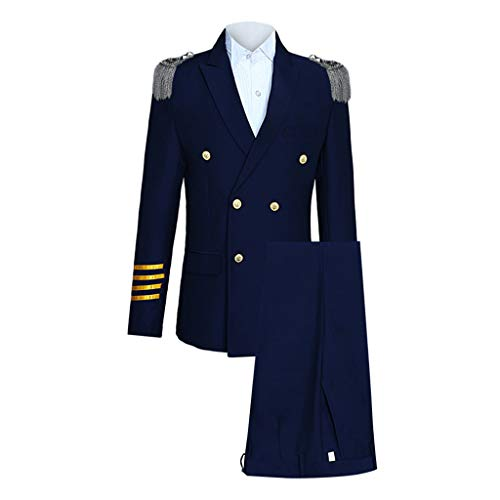 Leegor Men Premium Suit Skinny Suit in White 3-Piece,Aircraft Commander Blazer+Pant+Shoulder Board