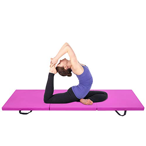 Beedwarm Thick Yoga Mat Tri-fold Gymnastic Mats PU Leather Aerobics Mat Exercise Mat for Aerobic Exercise Fitness Stretch, Non-Slip with Hand Buckle,6ft x 2ft x 2in(Purple)