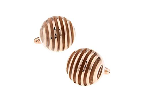 ANAZOZ Cufflink Shirts for Men, Round Rose Gold French Shirt Cuff Links for Groom Wedding Dress