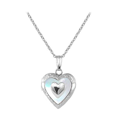 Sterling Silver Mother of Pearl Heart Locket Necklace For Children (15 in)