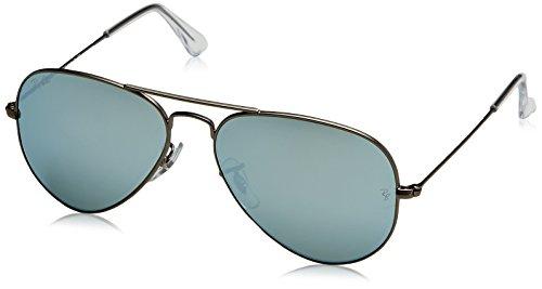 Ray-Ban Men's Large Metal Non-Polarized Iridium Aviator Sunglasses, Matte Gunmetal, 55 mm by Ray-Ban