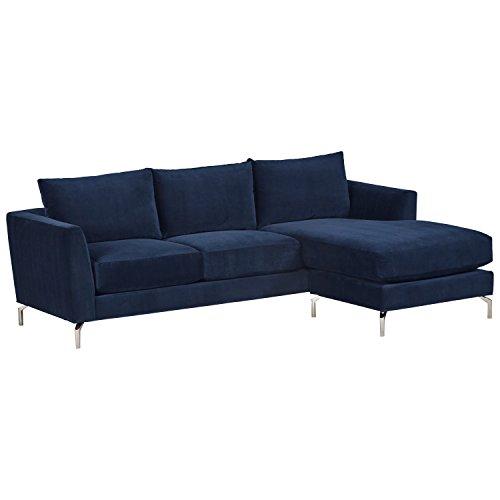 Rivet Emerly Mid-Century Modern Velvet Reversible Sofa Chaise, 96 W, Navy