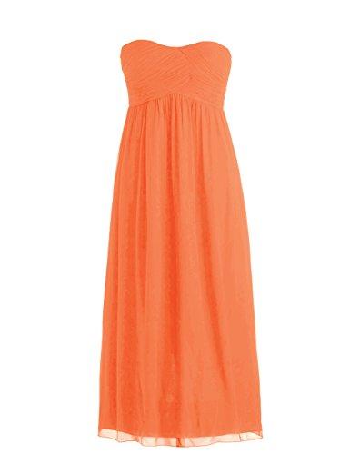 Dressystar Robe de demoiselle d'honneur/de soirée Simple, en Mousseline Taille 54 Orange