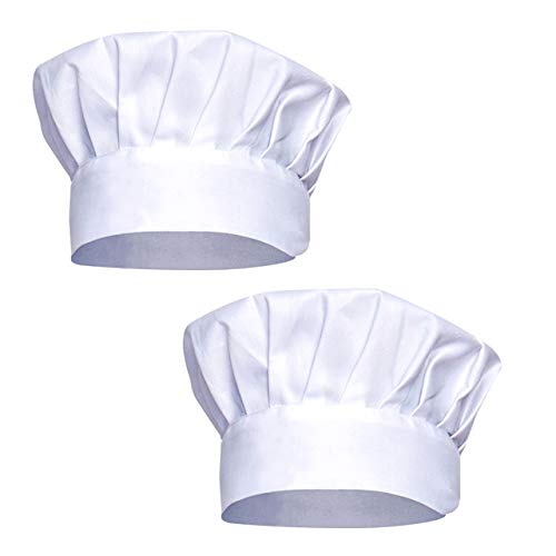Syntus Chef Hat Adjustable Elastic Baker Kitchen Catering Cooking Chef Cap Pack of 2 White -