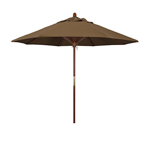 California Umbrella 9' Rd. Wooden Market Umbrella, Push Open Pin Stop , Sunbrella Teak