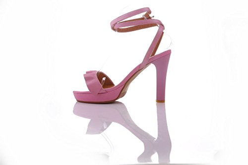 AmoonyFashion Womens Soft Material Open-Toe High-Heels Buckle Solid Sandals Pink KP08J0eh