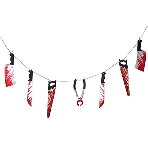 Banners, Streamers & Confetti - Bloody Splatter Gory Weapon Knifes Scary Horror Haunted Paper Garland Hanging Banner - Streamers Banners Streamers Confetti Splatter Screen Halloween Diamond Pain ()