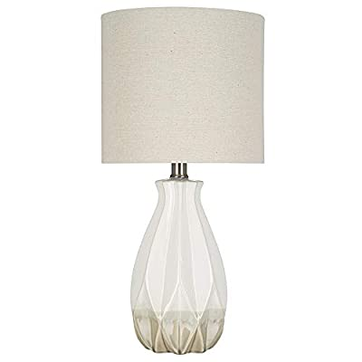 """Catalina Lighting 21590-000 Transitional Textured Ceramic Accent Table Lamp with Linen Shade, 16"""" Grey,"""