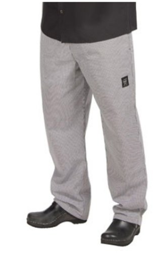 Chef Revival P020HT 24/7 Poly Cotton Blend Elastic Waistband Chef Pant with Drawstring, Medium, Houndstooth by Chef Revival