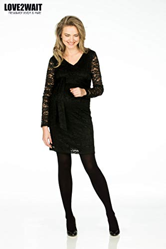 171009 Love2Wait Schwarz Black Dress Kleid Damen Umstandskleid Schwangerschaftskleid qwf4wRx
