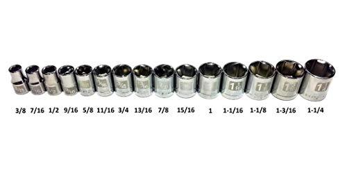 "Craftsman Laser Etched Easy Read 15 Piece SAE Standard 1/2"" Drive 6 Point Shallow Socket Set"