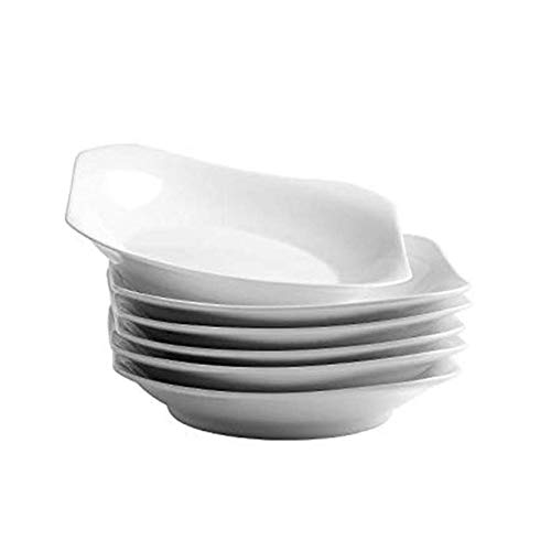 (UIBFCWN Porcelain Square dinner plates, 7.5inch, White, Set of 6)