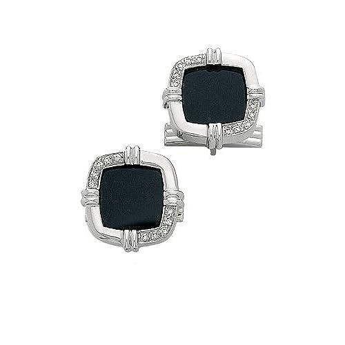 14K White Gold & Diamond-Black Onyx Cuff Links-86349