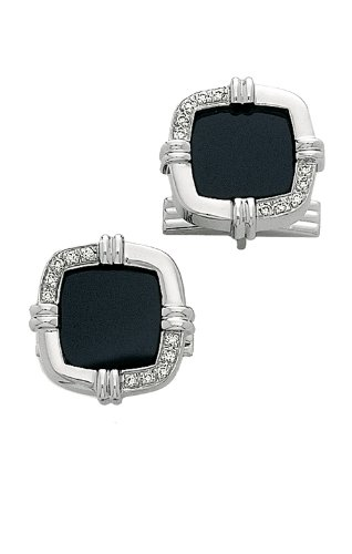 - 14K White Gold & Diamond-Black Onyx Cuff Links-86349