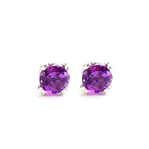 3mm Tiny Purple Amethyst Gemstone Post Stud Earrings in Sterling Silver - February ()