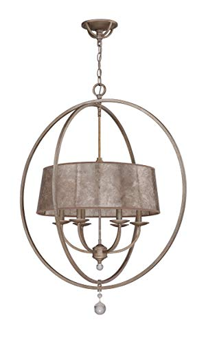 Chandeliers 6 Light Fixtures with Athenian Obol Finish Steel/Mica Material Candelabra 31