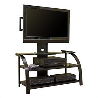 Amazon Com Sauder 404700 Tv Stand With Panel Mount Black Dark
