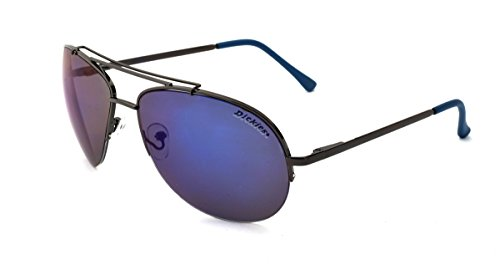 Dickies Men's Aviator Sunglasses, Gunmetal Blue Two Tone Frame, Smoke Blue Mirror Lens, - Sunglasses Dickie