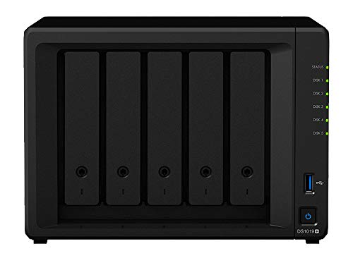 Synology DiskStation DS1019+ iSCSI NAS Server with Intel Celeron Up to 2.3GHz CPU, 8GB Memory, 10TB HDD Storage, DSM Operating System
