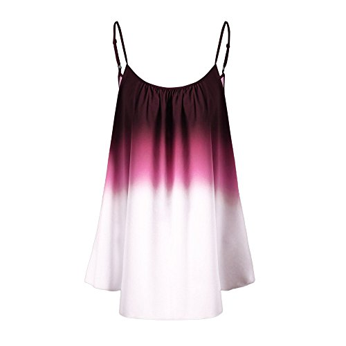FarJing Hot sale Women's Casual Gradient Sleeveveless Ombre Cami Top Trim Tank Top Blouse (XL,Wine) ()
