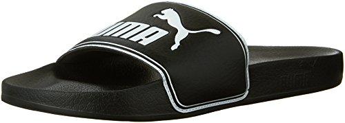PUMA Men's Leadcat Slide Sandal, Black/White, 10 M US (Shoes Puma Shower)