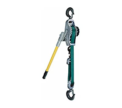 1/2 Ton, Little Mule 250A Lineman's Strap Lever Hoist, 9 ft. Lift, Standard Hooks with Safety Latches, Part No 04190W