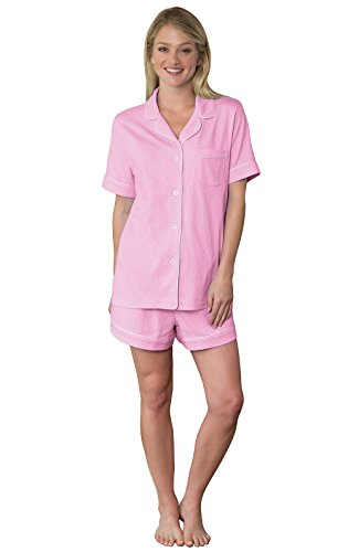 Cotton Jersey Dot Pink (PajamaGram Cotton Oh-So-Soft Dot Women's Pajamas - 2 Piece Set, Pink, 1X 16-18)
