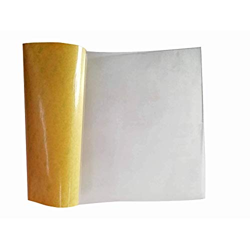 "High Temperature Thin Transparent Silicone Rubber Sheet with Adhesive, 60 A Durometer, 0.04"" Thickness, 6.3"" Width, 11.8"" Length"