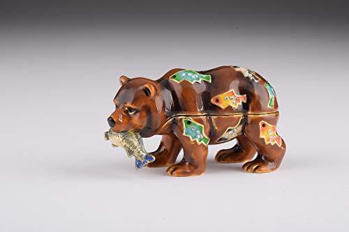 - Keren Kopal Brown Bear Holding Fish Trinket Box Decorated with Swarovski Crystals Unique Handmade Gift BR1923
