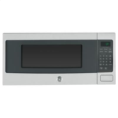 GE Profile PEM31SFSS 24 Inch 1.1 cu. ft. Capacity Countertop Microwave in Stainless Steel (Best Countertop Microwave With Trim Kit)